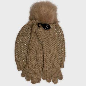 Steve Madden Studded Pompom Beanie/Glove Set